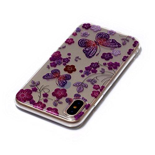 iPhone X Hülle, iPhone X Handyhülle, MSK® HandyTasche Back cover TPU Silikon Schutzhülle Telefonkasten Protective Tasche Für iPhone X - Donuts Schmetterling