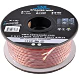C&E Series 16 Gauge AWG 99.9% Oxygen Free Copper Speaker Wire Cable with Clear PVC Jacket & Polarity Stripe (100 Feet / 30.48 Meters) Great Use for Home Theater Speakers and Car Speakers (16 Gauge)