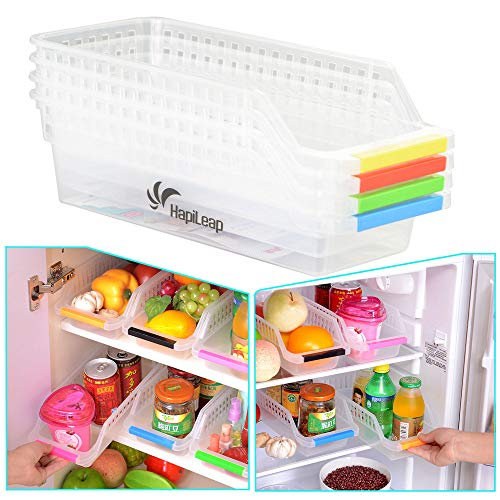 HapiLeap Refrigerator Durable Storage Organizer Fruit Handled Kitchen Collecting Box Basket Rack Stand Basket Container (4Pcs)
