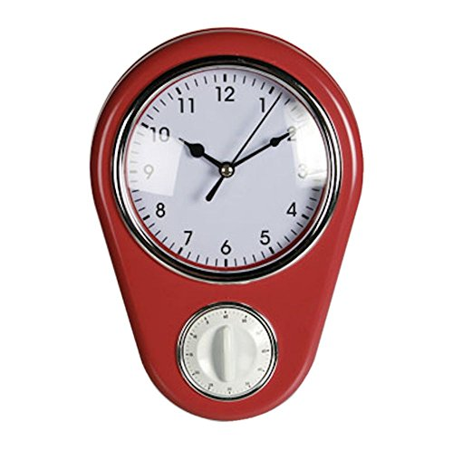 vintage-retro-pastel-colour-kitchen-wall-clock-with-kitchen-cooking-baking-timer-red