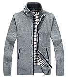 LemonGirl Herren Zip Dicker Strickjacke Pullover mit Taschen
