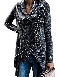 574e38f81b96d2 MAGIMODAC Damen Strick Pullover Pulli Sweater Jumper Cardigan Longpullover  Longpulli mit Fransen 34 36…