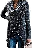 MAGIMODAC Damen Strick Pullover Pulli Sweater Jumper Cardigan Longpullover Longpulli mit Fransen 34 36 38 40 42 44 46 (Dunkelgrau, Etikett M/EU 38-40)