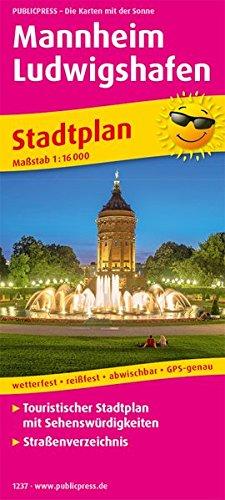 Mannheim, Ludwigshafen: Touristischer Stadtplan mit Sehenswürdigkeiten und Straßenverzeichnis. 1:16000 (Stadtplan / SP)