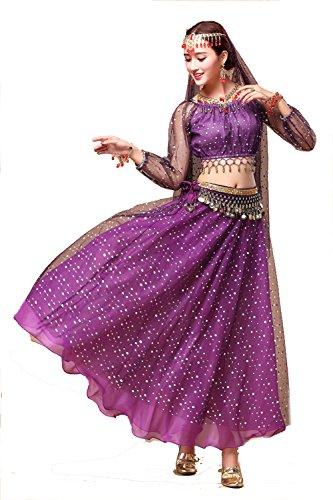 YYCRAFT Damen-Halloween-Kostüm Tops Rock Set mit Zubehör Bauch Dance Performance Outfit 6Farben, Damen, Style A-Purple, Unique Size (Top 30 Halloween-kostüme)