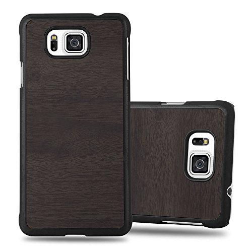 Preisvergleich Produktbild Cadorabo Hülle für Samsung Galaxy Alpha - Hülle in Woody SCHWARZ – Hardcase Handyhülle in Vintage Holz Optik - Schutzhülle Bumper Back Case Cover