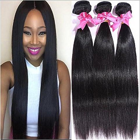 Meydlee AccessoriPosticci 6a peruviana vergine capelli dritti 100% peruviana umano colore naturale di capelli estensioni 100g/ps 3pcs / Lot totale 300g 3ps fasci , 20 22 24