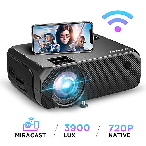 BOMAKER WiFi Beamer 3900 Lumen Wireless Projektor Unterstützt 1080P Full HD Native 720p Max. 250\'\' Display Mini LED Beamer kompatibel mit iPhone/Android Smart Phone/iPad/Mac/Laptop/PC