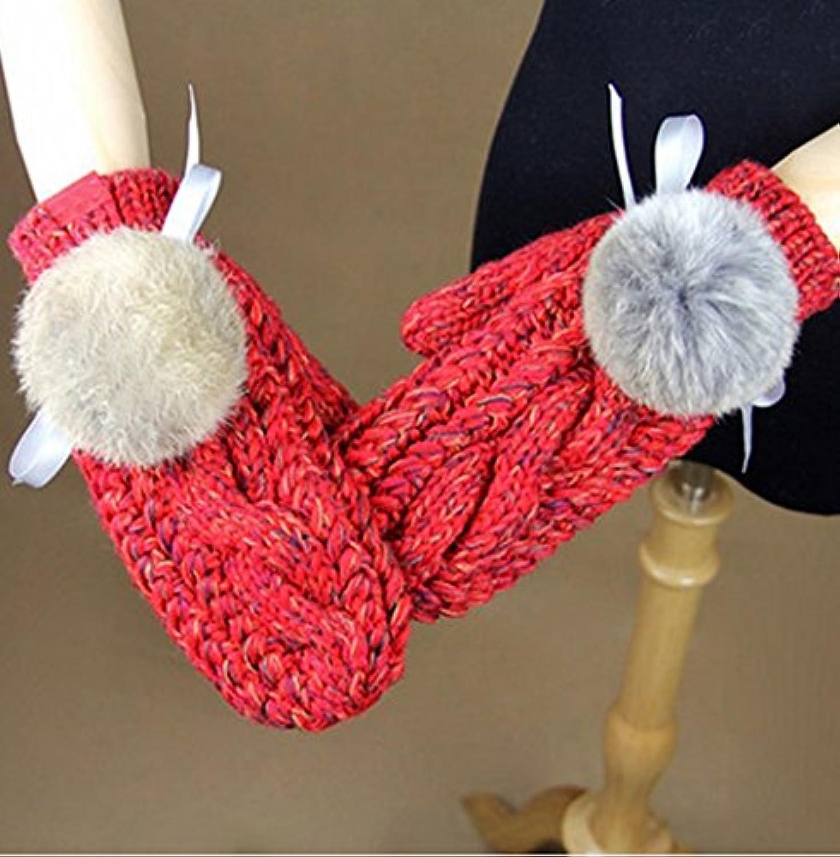 Gloves-zx Invernale Femminile Invernali Sfera Guanti Invernali Femminile  Ispessimento di Lavoro a Maglia f9761a3385a2