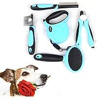 Gearmax® Pet Dog Grooming fornisce 5 in 1 - Guinzaglio, Rastrello Capelli, Pet Nail Clipper, Pet Flea pettine, spazzola Pin per i cani, i gatti