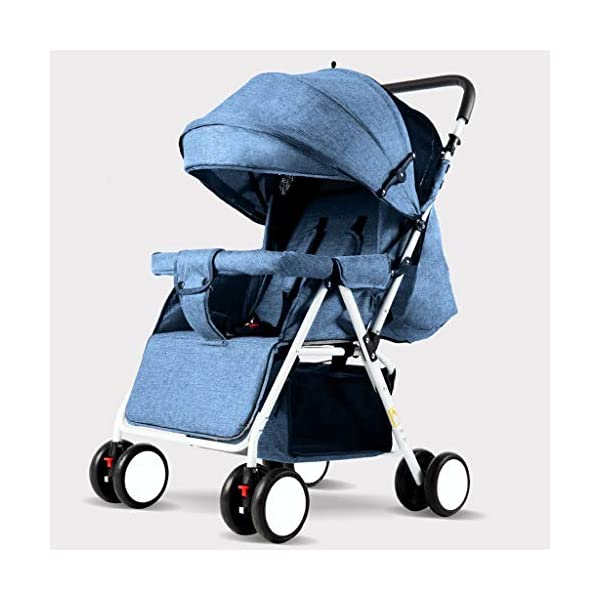 JIAX Baby Stroller, Foldable Pram Carriage With 5-Point Harness, Convenience Stroller, Lightweight Stroller With Aluminum Frame, Extra Large Storage Basket-Infant Stroller For Travel And More JIAX ✢FULL CANOPY DESIGN: Light rain proof, 300D / 600D Oxford fabric is skin-friendly and breathable, soft and comfortable, strong and durable, universal in four seasons in winter, warm and cool in summer, new upgrade, large rear window ✢ROLL UP THE REAR CURTAIN IN SPRING AND SUMMER: more airy ✢THE REAR CURTAIN CAN BE LOWERED IN AUTUMN AND WINTER: more windproof and warm, can sit and lay for 0 ~ 3 years old 1