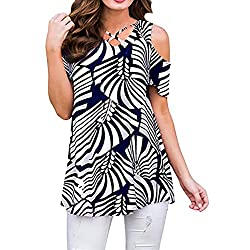 Gillberry Womens Great Blouses Casual Floral Print Cold Shoulder Tunic Tops V Neck Criss Cross T Shirts Blouses Medium Black