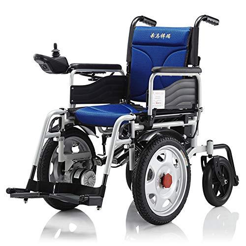 KuiGu Faltbarer Power Kompakter Mobilitätshilfe-Rollstuhl, Leichter elektrischer Rollstuhl-tragbarer medizinischer Roller,Blue,25km