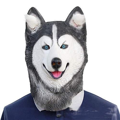 OYWNF Lustige Latex Husky Kopf Maske Halloween Party Show Gummi Tier Masken Kostüm Requisiten (Color : Dog, Size : One Size) (Lustige Joker Kostüm)