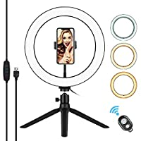 10 Inch LED Ring Light with Tripod Stand Phone Holder Remote Control Table Photography Lamp for YouTube Video Photo Studio Live Stream