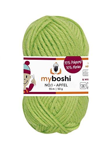 myboshi Häkel-/Strickgarn, Wolle-Mix, Neongelb (Lime)