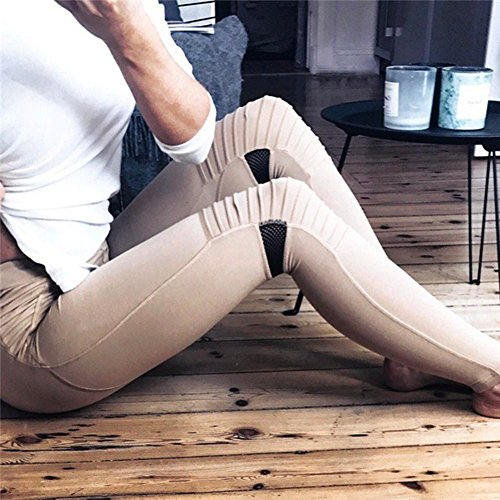 Leggings donna Sport Pantaloni - Juleya donne Pantaloni Yoga a vita alta Pantaloni sportivi push up Abbigliamento sportivo Leggins elastici per ginnastica fitness allenamento Cachi