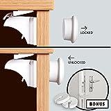 4 verrous magnétiques pour placards, 2 butées de porte anti-pince-doigts pour la sécurité des bébés - Aucun outil/vis, ruban adhésif 3M par Safe Living