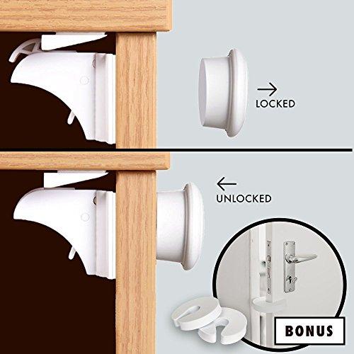 Gran oferta: 4 cerraduras de armario magnéticas 2 salvadedos para puertas de regalo – Sin herramientas/tornillos Cinta adhesiva 3M