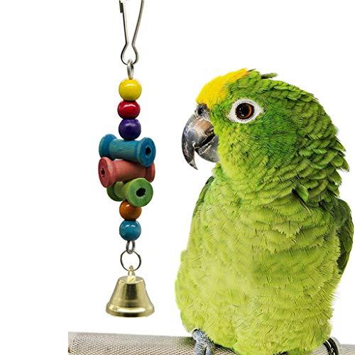 DQANIU ❤️❤️ Vogel-Spielzeug, das hölzerne Wellenmolarenschnur-Bell-Aufsuchungsstern-Vogel ()