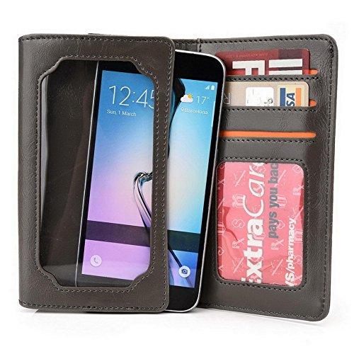 Kroo Portefeuille unisexe avec Huawei Ascend P6ajustement universel différentes couleurs disponibles avec affichage écran Beige - beige Gris - gris
