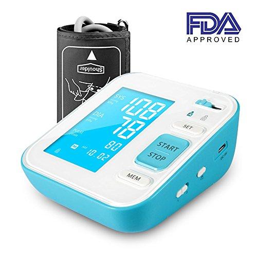 PERBEAT B02 Oberarm-Blutdruckmessgerät, vollautomatische digitale Herzfrequenz-Monitore für den Heimgebrauch mit großem LCD-Display, unregelmäßiger Herzschlag-Detektor, 120 Erinnerungen für 2 Benutzer, 8.7'-15.8' Manschette Größe