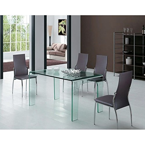 designement Richard Table Verre, Transparent, 120 x 80 x 75 cm