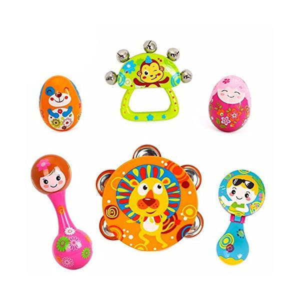 Early Education 0-1 years Olds Baby Musical Instruments Toy Set Timbrel Maracas Sand Eggs Shaker Hand Bells Bell Drum Baby Rattle for baby & Kids Boys and Girls 1