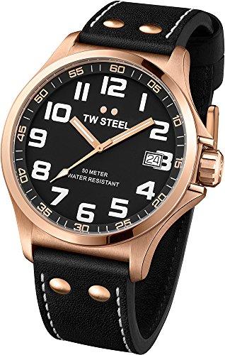 TW Steel - TW416 - Montre Mixte - Quartz Analogique - Bracelet Cuir Noir