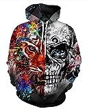 Leslady Unisex Herren Slim Fit 3D Druck Kapuzenpullover Kapuzen Sweatshirt Winter Hoodie Pullover(Large/X-Large, 5-Schädel Tiger)