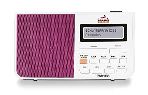 TechniSat Digitradio 210 Schlagerparadies Edition (Digitalradio mit Schlagerparadies-Taste, Sendersuchlauffunktion, Festspeichertasten (je 8), Uhrzeit, LCD-Display, 3,5mm Kopfhöreranschluss) weiß