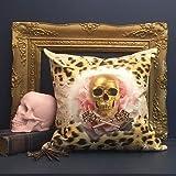 Van Asch impreso cojín Golden leopardo Deluxe–Cojín de algodón con 50x 50cm incluye...