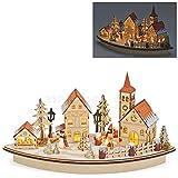 matches21 Dekorative Winterszene Weihnachtsdorf Szene aus Holz mit Beleuchtung Weihnachtsdekoration Winterdeko 36x20 cm