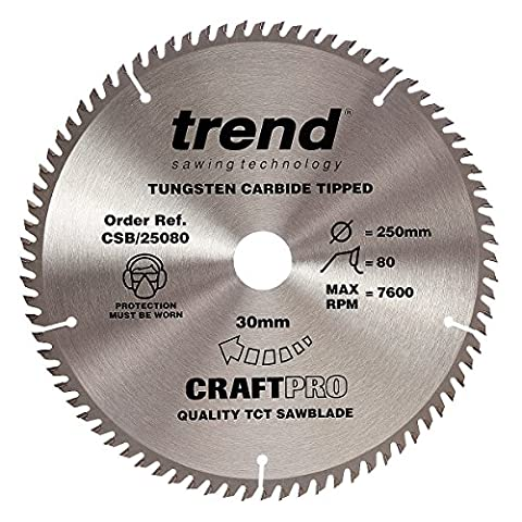 Trend CSB/25080 250 x 30 mm 80 Teeth CraftPro Saw Blade
