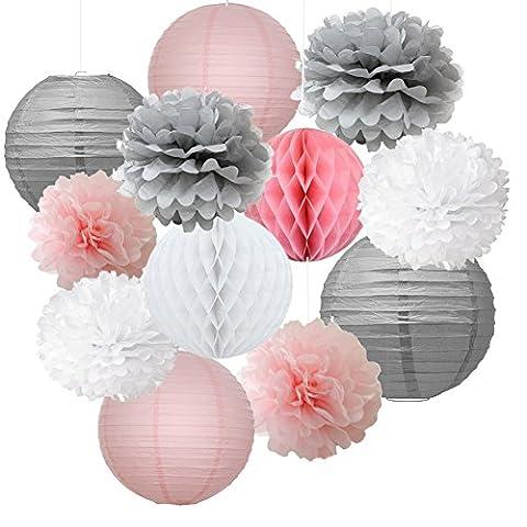 12pcs Mixed Pink Grey White Decorative Paper Pompoms Flower Hanging Paper Lantern Honeycomb Balls Wedding Birthday Christening Girl Baby Shower Decoration Favour