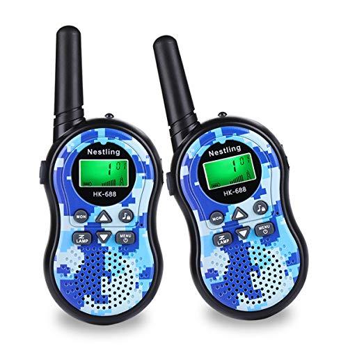 LINN Walkie Talkie für Kinder 8 Kanäle 4KM Reichweite Funkgeräte Set LCD Bildschirm mit Taschenlampe 2 Schlüsselbänder Spielzeuge Geschenk für Jungen/ Mädchen,2 Stück Blaue Tarnung