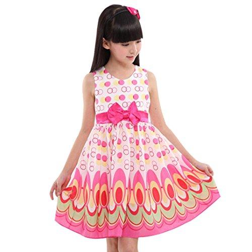 squarex Mädchen Kleid, Mädchen, ärmellos, Gürtel-//Party, Kinder, hot pink, 3 Jahre