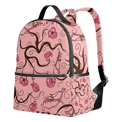 Ahomy Schulrucksack, Asiatischer Blumen-Vogel, Büchertasche, Reisen, großer lässiger Rucksack für Teenager, Mädchen und Jungen