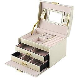 DCCN Jewellery Box Estuche De CosméTicos Caja De Almacenamiento De JoyeríA De Cuero De PU De Tres Capas con Espejo Y Cerradura, Regalo para NiñAs O Mujeres (Blanco)