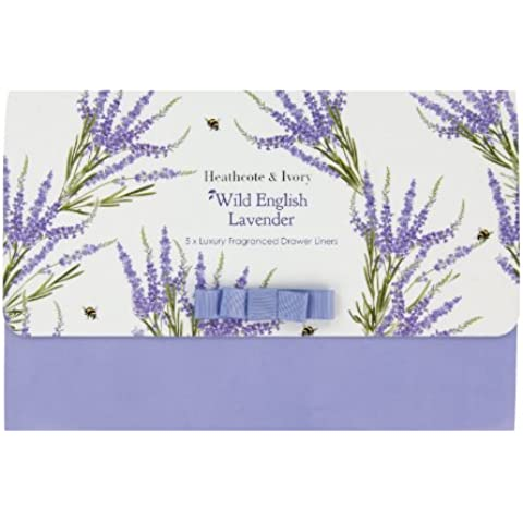 Heathcote & Ivory Wild English Lavender - Forro perfumado para cajones (5 unidades, perfume de