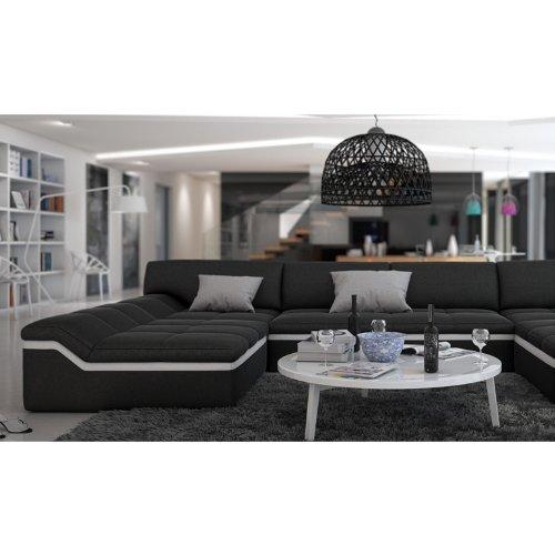 XXL Wohn-Landschaft mit Kunstleder Bezug 380x220 cm U-Form schwarz / weiß | Sarari-U | Designer Eck-Sofa mit 2 Recamieren | Couch-Garnitur für Wohnzimmer schwarz / weiss 380cm x 220cm - 4