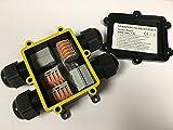 JUMBO-Verbindungsbox 4-fach mit 4x M20 Kabeleinführung (extra gross), inkl. Verbindungsklemmen, IP68, Kabelmuffe wasserdicht, Verbindungsbox 220V - 240V Erdkabel mit 3, 4 oder 5 Adern (0,75 - 4,0 mm2 Querschnitt) für den professionellen Einsatz