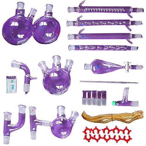 neuen 31pcs Lab ätherisches Öl Destillation Chemie Bio Apparat Glaswaren Kit FULL SET Lab Chemical Gerät w/Graham Kondensator 24/29Gelenk Scheidetrichter