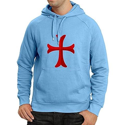 Sweatshirt à capuche manches longues Chevalière Croix Rouge les templiers (X-Large Bleu Multicolore)
