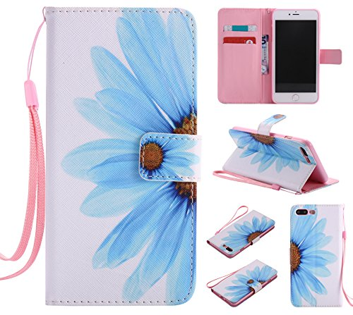 Ooboom® iPhone 8 Plus/iPhone 7 Plus Hülle Flip PU Leder Handy Tasche Case Cover Wallet Brieftasche Standfunktion mit Kartenfächer für iPhone 8 Plus/iPhone 7 Plus - Don't Touch My Cell Phone Sunflower