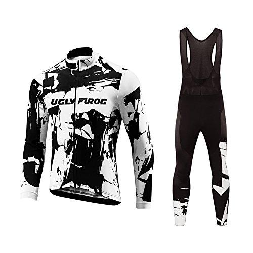 Uglyfrog Frühling/Herbst Männer Radfahren Kleidung Set Fahrrad Anzug Outdoor Langarmtrikot+ Hose Atmungsaktiv Schnell Trocken (Größe XS-6XL) -