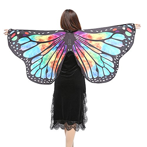 Rovinci Damen Kleine Schmetterlingsflügel Schal Frauen Schmetterling Flügel Umhang Kostüm Faschingskostüm Mini Rainbow Butterfly Wings Nymphe Pixie Poncho Kostüm Zubehör für Show Daily Party