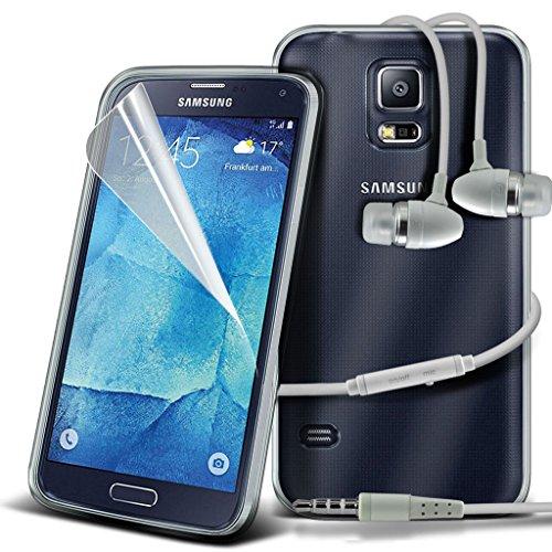 Samsung Galaxy S5 Neo hülle Tasche (Grün + Kopfhörer) Slim-Fit-Abdeckung für Samsung-Galaxie-S5 Neo-hülle Tasche Haltbarer S Linie Wellen-Gel-Kasten-Haut-Abdeckung + mit Aluminium Earbud Kopfhörer, Po TPU clear case + earphones