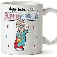 Tazas para Abuelas – AQUÍ Bebe UNA Super Abuela – La Mejor Taza Desayuno del Mundo 350 ML - Idea Regalo para Abuelas