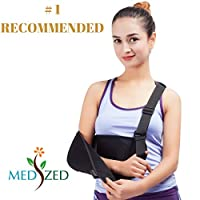 MEDIZED Arm Sling with Thumb Support Dislocated Shoulder for Broken Arm Immobilizer Wrist Elbow Support Ergonomic, Lightweight, Breathable Mesh, Split Strap - Suits both Men & Women, One size (Adult)